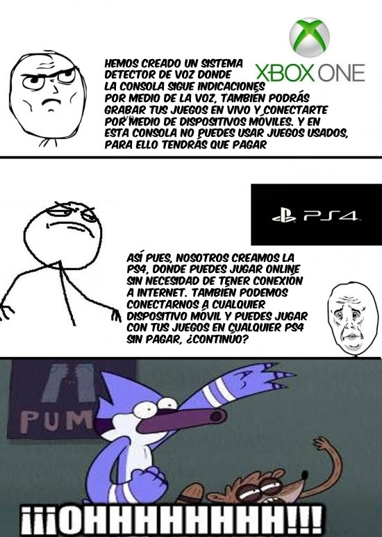 Fuck yeah,Microsoft,Playstation4,PS4,Rigby & Mordecai,Serious,Xbox One