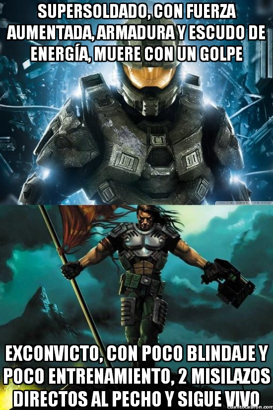 comparando,halo,jefe maestro,master chief,morir,prisionero 849,unreal,videojuegos