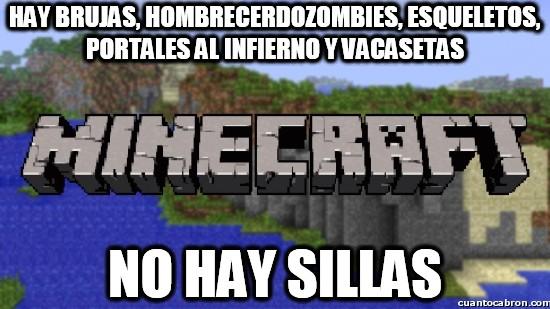 Minecraft - Hay brujas, hombrecerdozombies, esqueletos, portales al infierno y vacasetas
