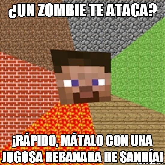 atacar,matalo,minecraft,rebanada,sandia,zombie