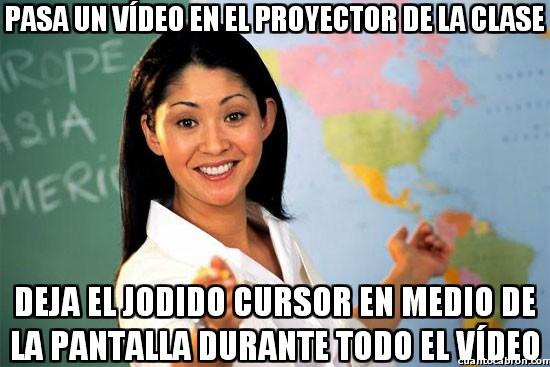 cursor,pantalla,profesora cabrona,proyector,reproductor de video