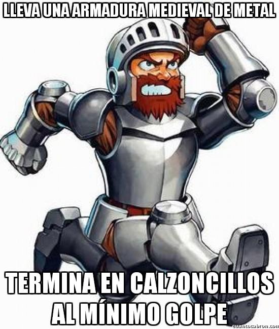 Meme_otros - Sir Arthur y sus armaduras poco resistentes