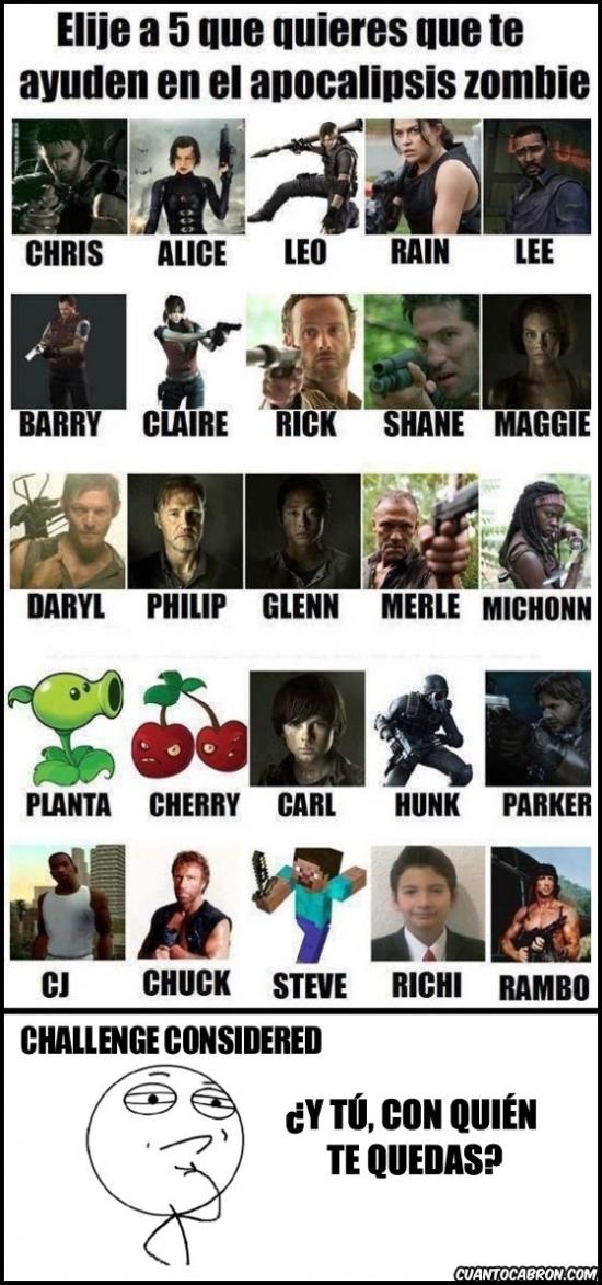 chuck norris,elegir,gta,left 4 dead,minecraft,plants vs zombies,rambo,resident evil,richi,the walking dead,trollface,zombies