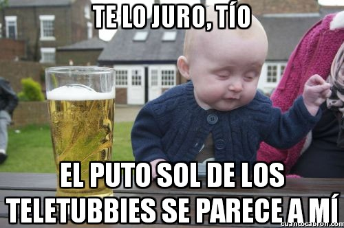 alcohol,bebe,bebé borracho,borracho,cerveza,niño,parecerse a mi,pequeño,sol,teletubbies