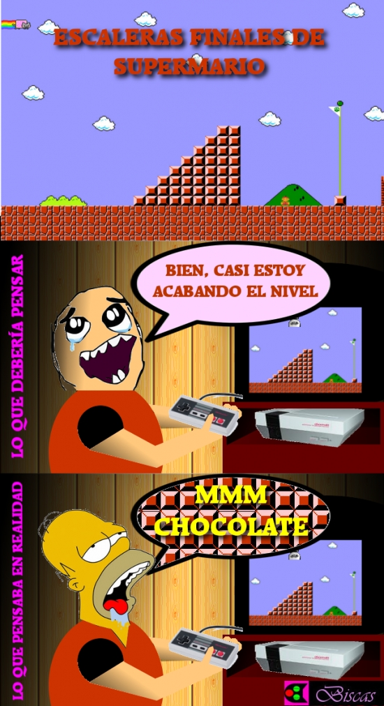 Otros - No es tan sencillo no pensar en chocolate al final de cada nivel de Super Mario Bros