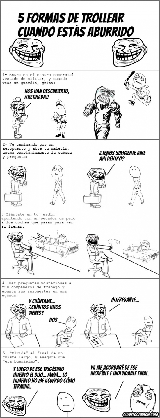 Trollface - 5 ideas para trollear y combatir el aburrimiento