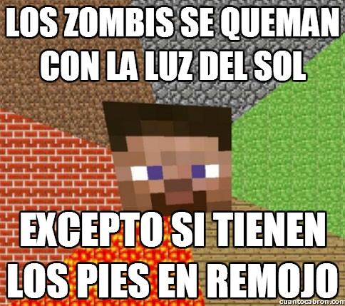 Minecraft - Los zombies saben como salvarse del fuego solar