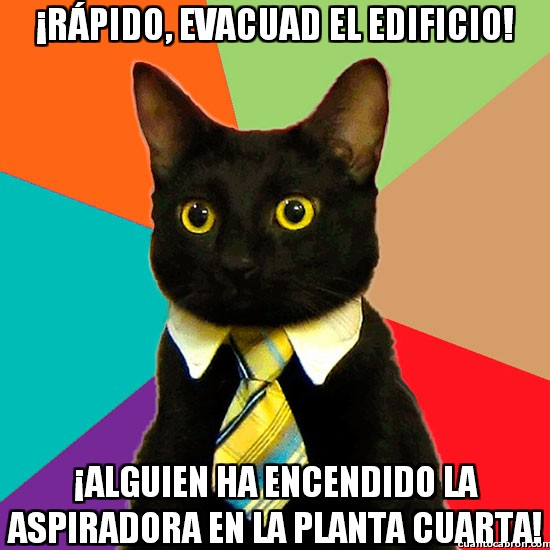 Gato_empresario - El gato ejecutivo solicita la evacuación del edificio