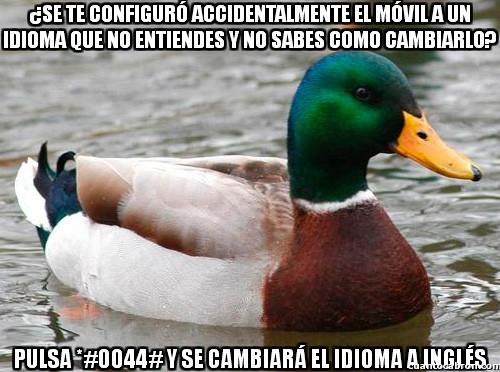 *#0044#,idioma,inglés,móvil,Pato consejero,teclado
