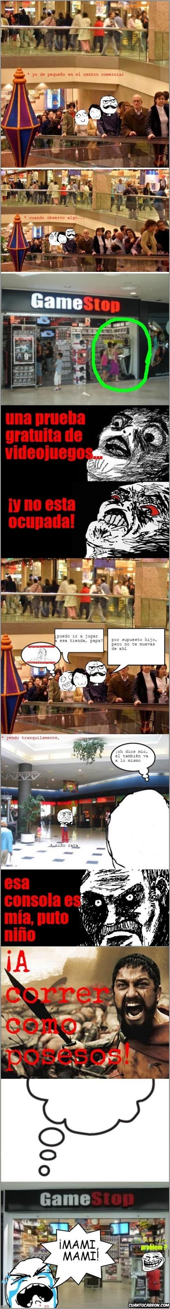 300,centro comercial,comprar,correr,esparta,game shop,juegos,mirada fija,niño rata,padres,rivalidad,tienda,trollface