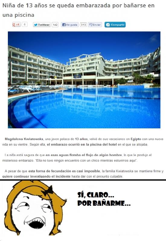 Si_claro - Niña embarazada por bañarse en una piscina