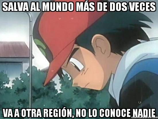 ash ketchum,no conocer,no le conocen,pokemon,regiones,salvar el mundo