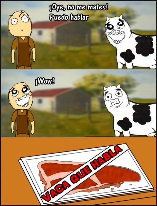 carne,fiambre,hablar,vaca,vaca que habla