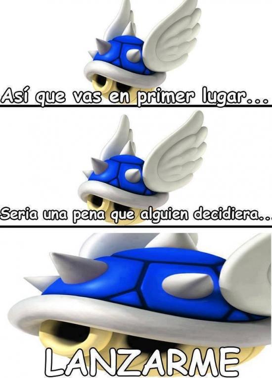 Meme_otros - La maldad de los caparazones azules del Mario Kart