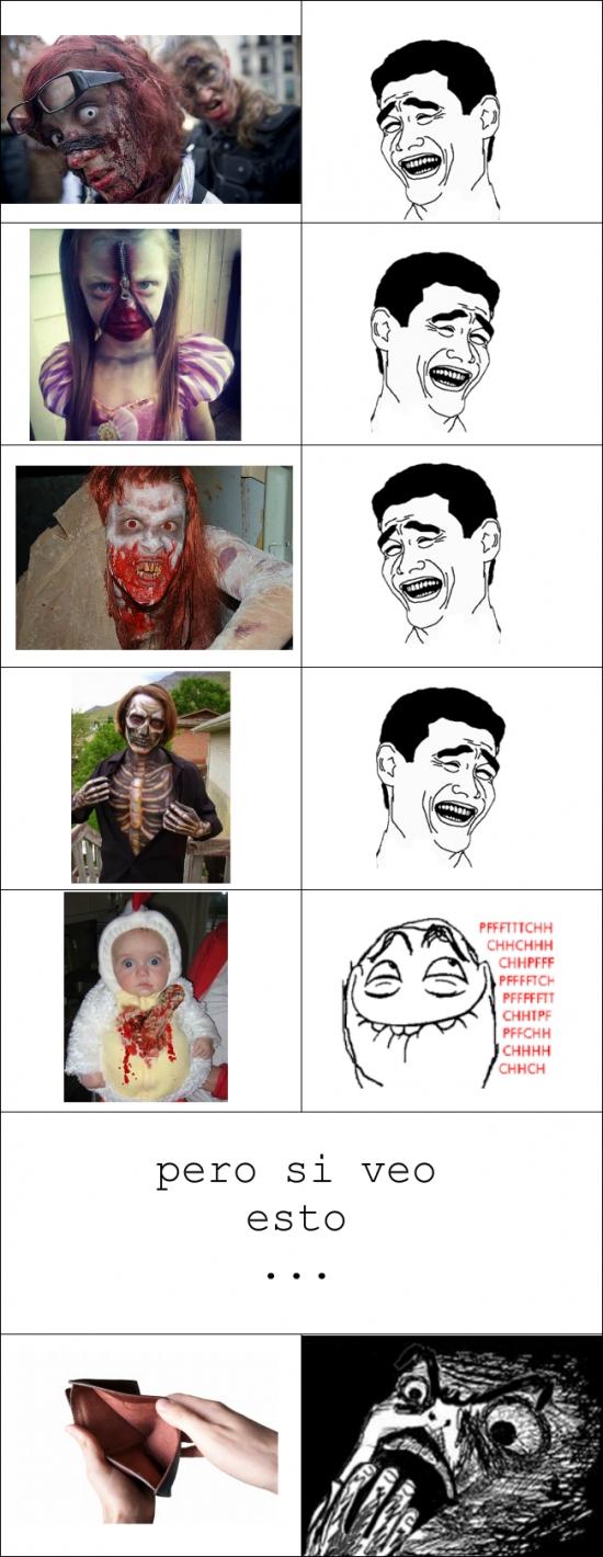cartera vacía,disfraces,halloween,maquillajes,miedo de verdad,monstruos,zombies