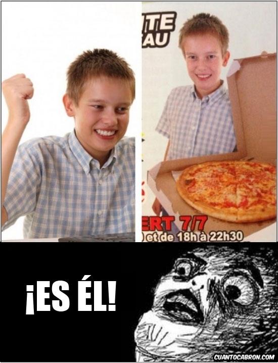 imagen publicitaria,meme,niño novato de internet,pizzero,raisins,repartidor,repartiendo pizzas