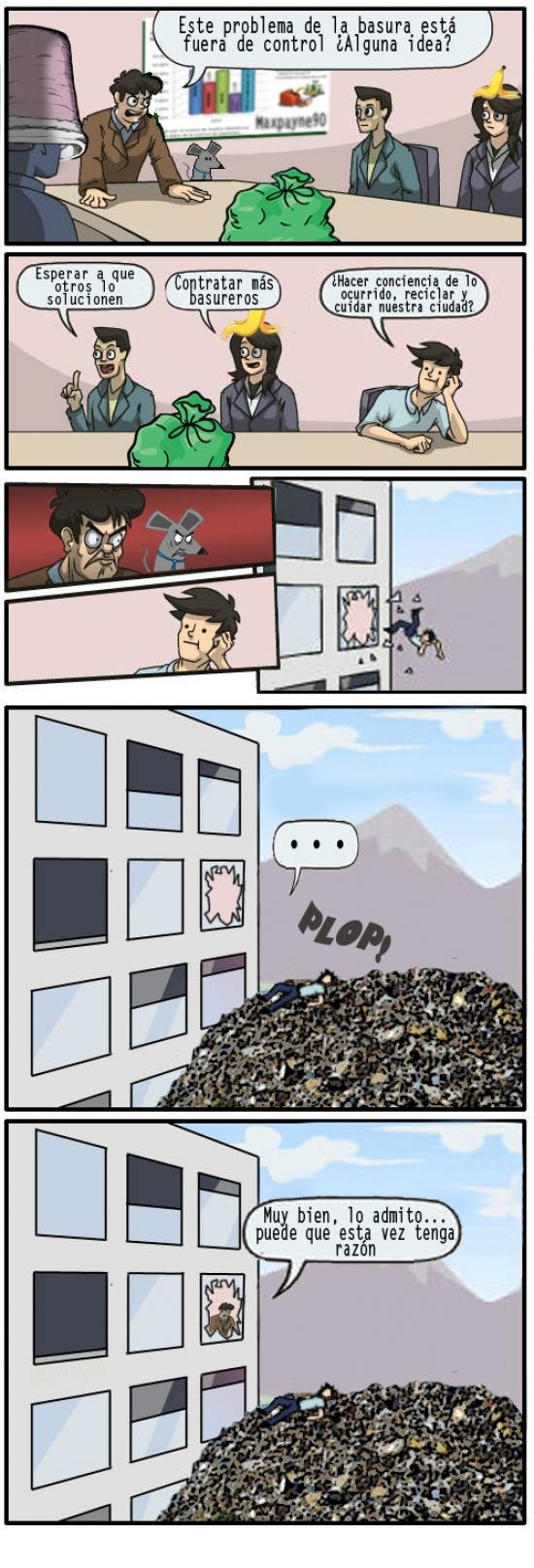 basura,huelga,junta de accionistas,noticia,oficina,ratas,temabasura,ventana,Window throwing guy