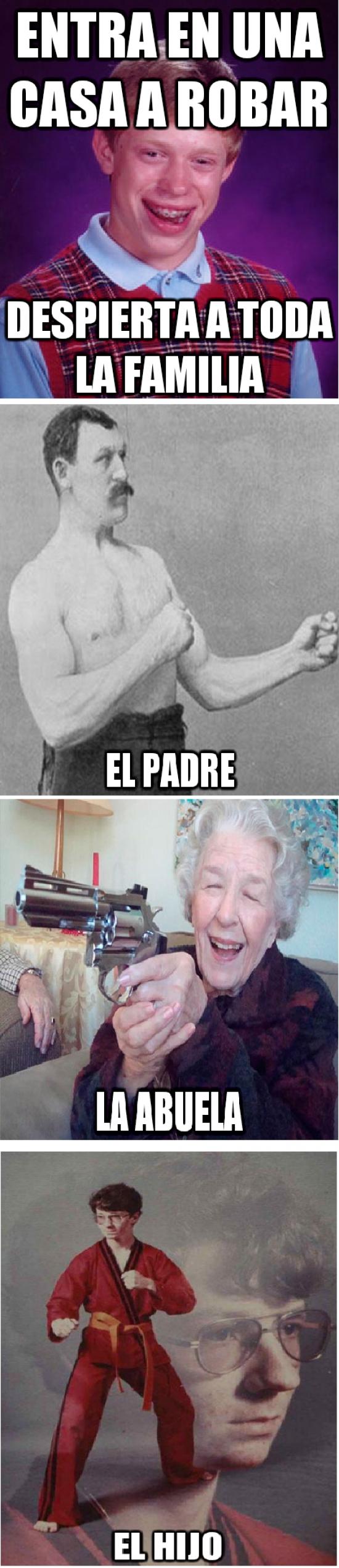 abuela amenazas,bad luck brian,casa esquivocada,entrar a robar,karate kyle