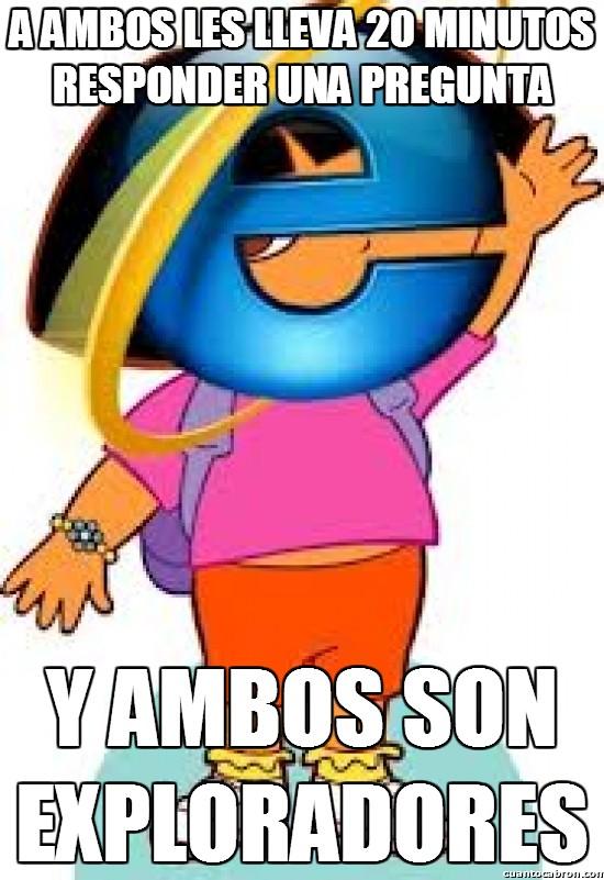 Meme_otros - La conexión entre Internet explorer y Dora