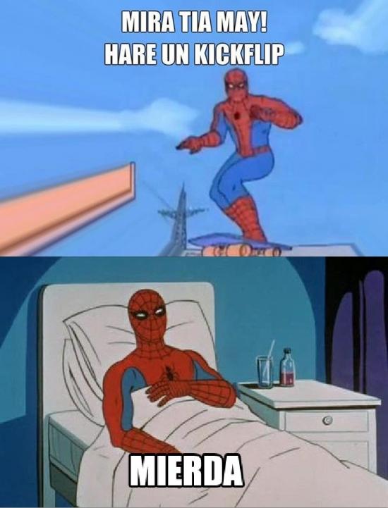 Spiderman60s - Ni Spiderman se libra de los accidentes de skateboard