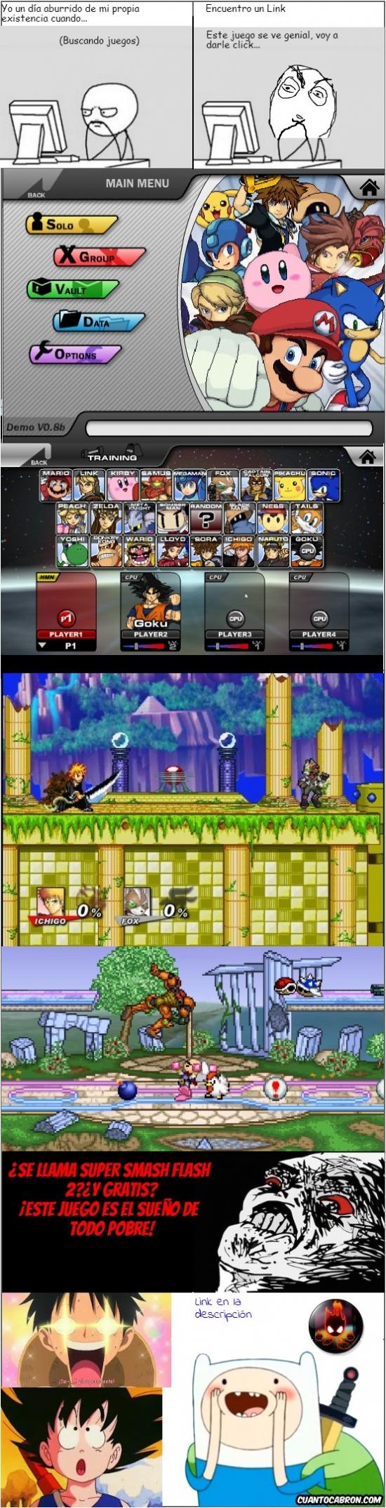 Finn,Goku,Luffy,SSF 2,super smash flash 2,tarda un poco en cargar