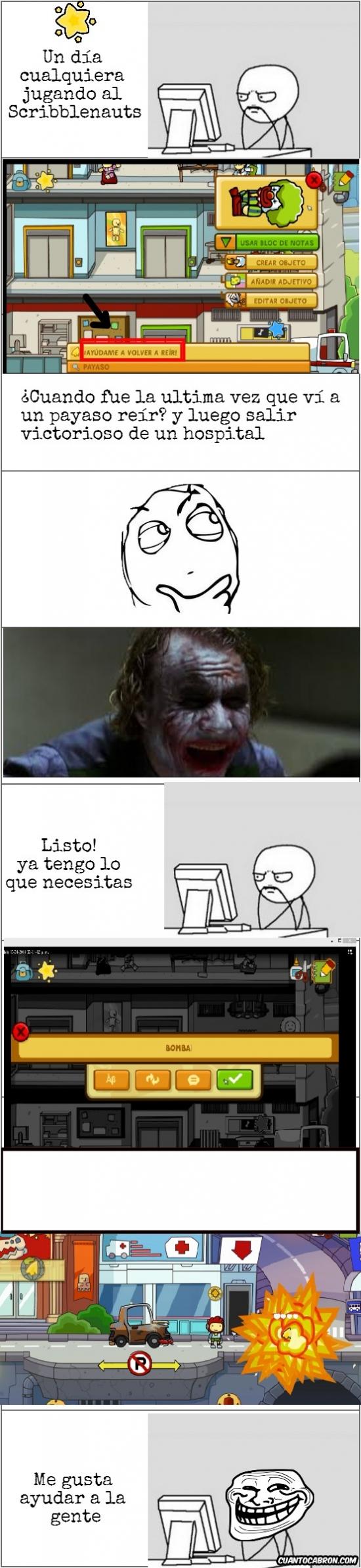 explosion,hospital,joker,payaso,Scribblenauts,temavideojuegos,troll