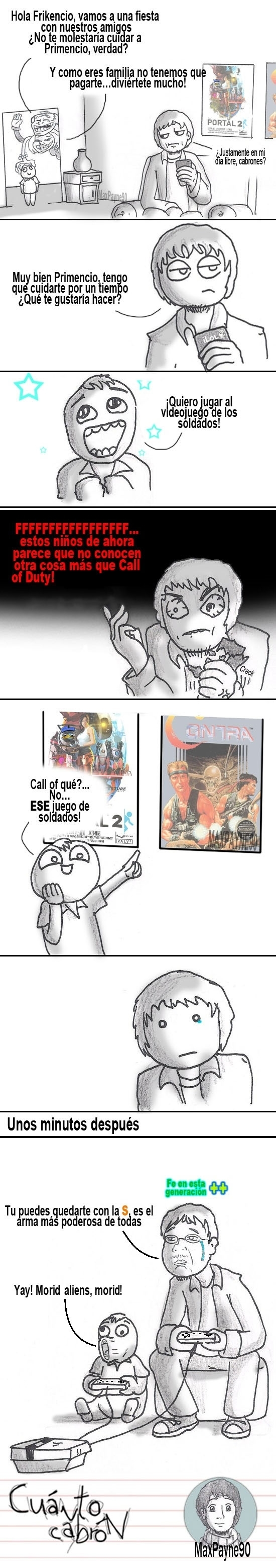 call of duty,Contra,friki,nes,nintendo,Primo,soldados,temavideojuegos,videojuegos