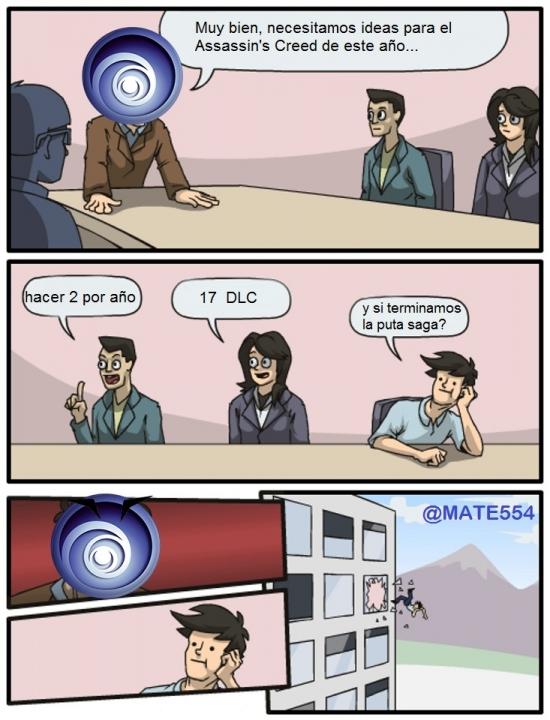 assassin's creed,DLC,junta de accionistas,logo,nunca termina,temavideojuegos,ubisoft