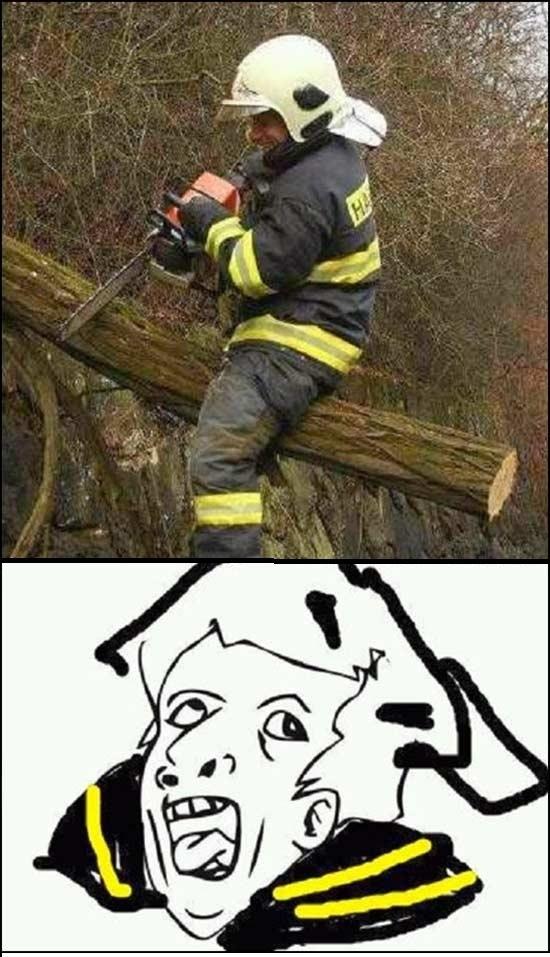 bombero,caida,cortar,genius,sierra electrica,talar,trabajador