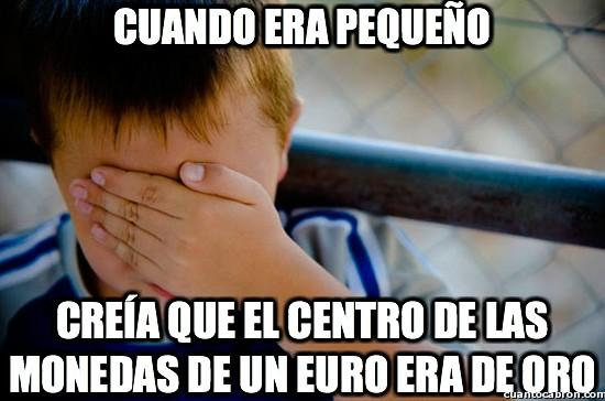 centro,monedas,niño,oro,un euro