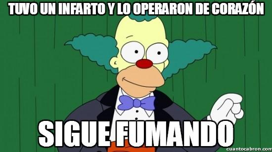 Meme_otros - Krusty y su poca preocupación por su salud