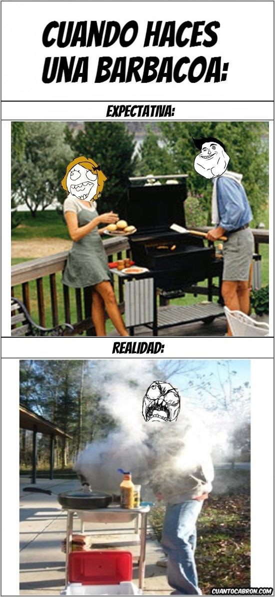 barbacoa,cocinar,expectativa,humo,realidad