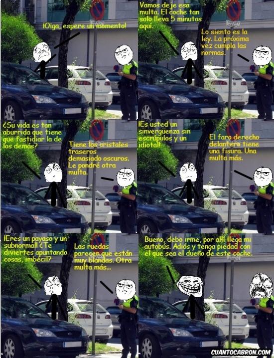 Trollface - Un policía sin escrúpulos poniendo multas a diestro y siniestro