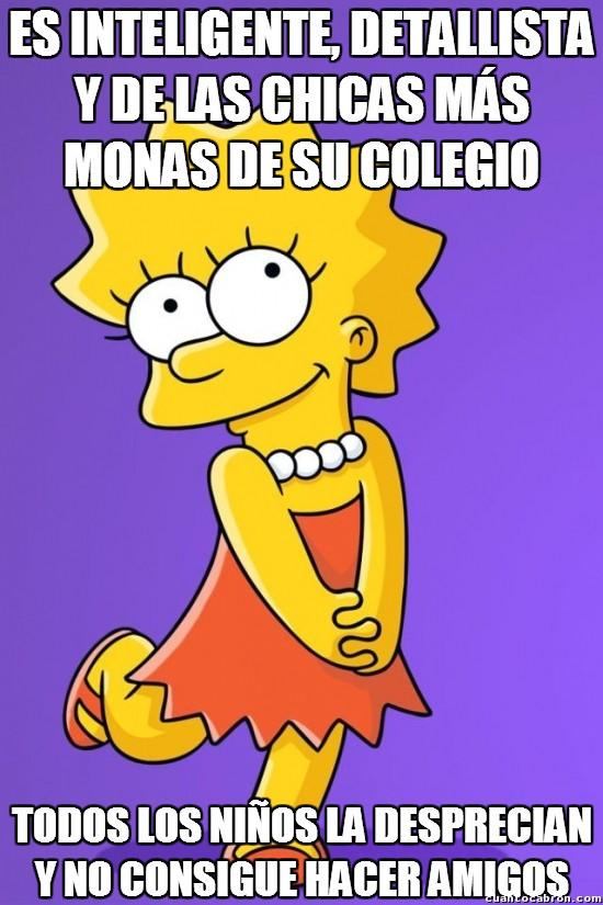 Meme_otros - Pobre Lisa Simpson y su nula facilidad social