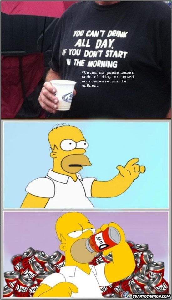 cerveza,empezar a beber,Homer Simpson,Mejor me callo,por la mañana,todo el dia