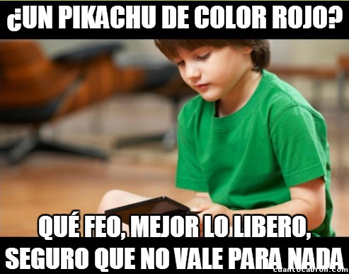 Hermano_pequeno_troll - ¿Un Pikachu de color rojo?