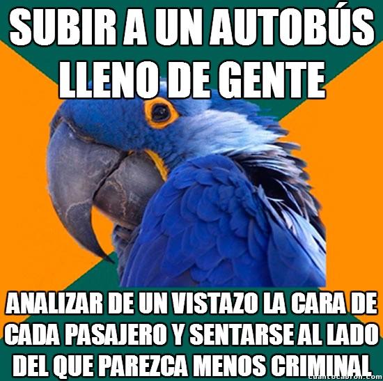 autobus,caras,criminal,loro paranoico,pasajeros