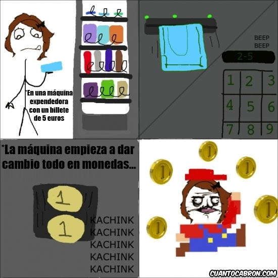 Me_gusta - Cuando te empieza a salir cambio de la máquina de bebidas expendedora