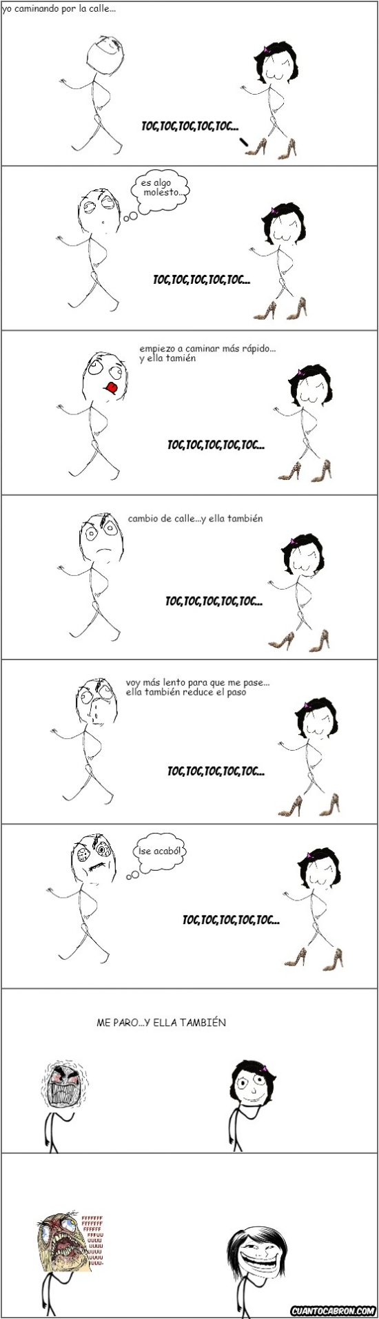 Trollface - Pocas cosas son más molestas que el andar de una chica con tacones