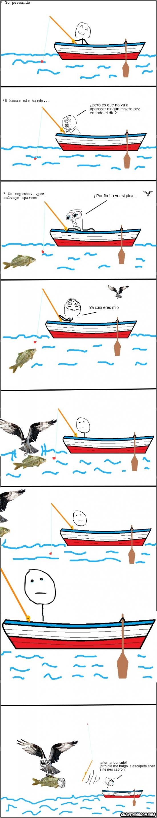 Trollface - La pesca requiere paciencia, y a poder ser una escopeta, aquí sabrás por qué