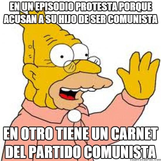 Meme_otros - Abuelo Simpson comunista y anti-comunista