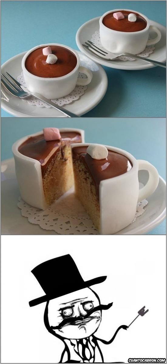 Feel_like_a_sir - Por alguna razón, al beber una taza de chocolate, me llené la cara de pastel...