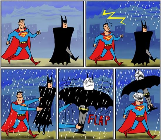 Trollface - Superman, ¿por qué no usas un paraguas normal?