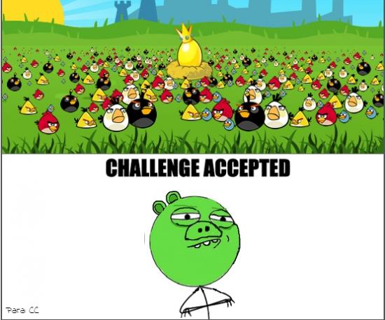 Challenge_accepted - Los cerdos del Angry Birds no tienen miedo a nada