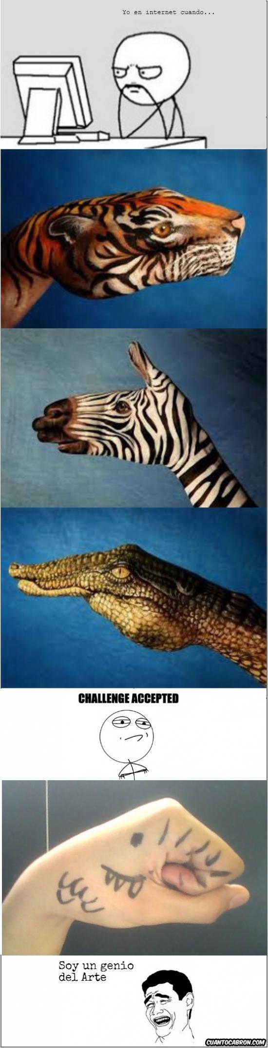 Yao - ¿Manos pintadas que parecen animales? Yo puedo hacer eso...