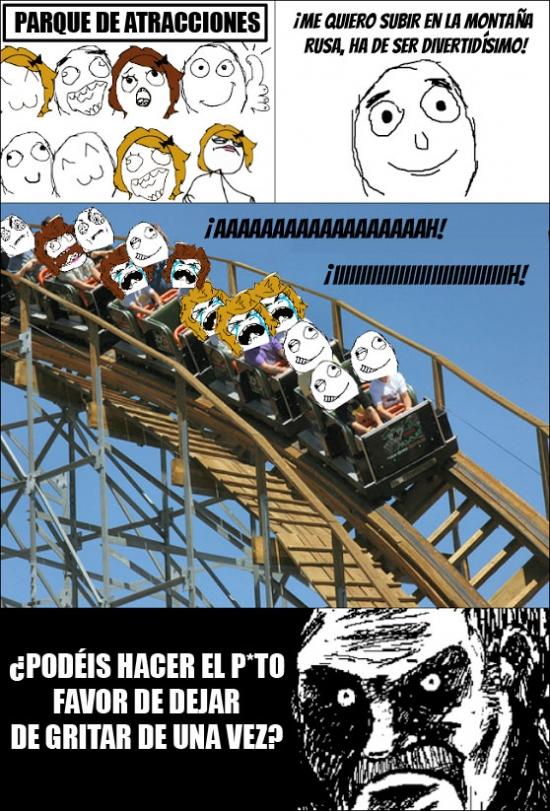 Mirada_fija - Lo peor de subir en una montaña rusa con chicas