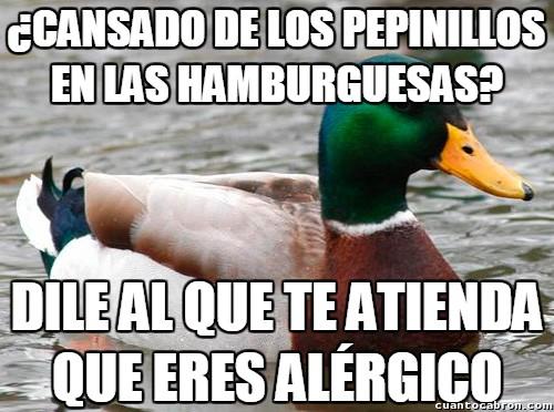 Pato_consejero - ¿Cansado de los pepinillos en las hamburguesas? He aquí tu solución