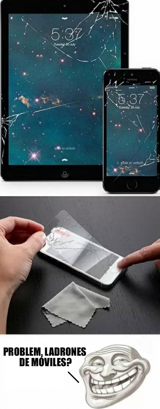 Trollface - ¿Quién querría robar un móvil con la pantalla rota?