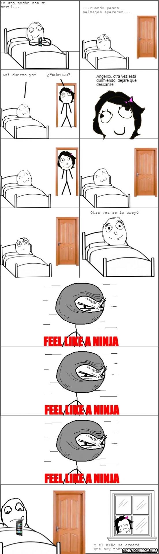 Feel like a ninja,madre,mentir,móvil. cama,noche