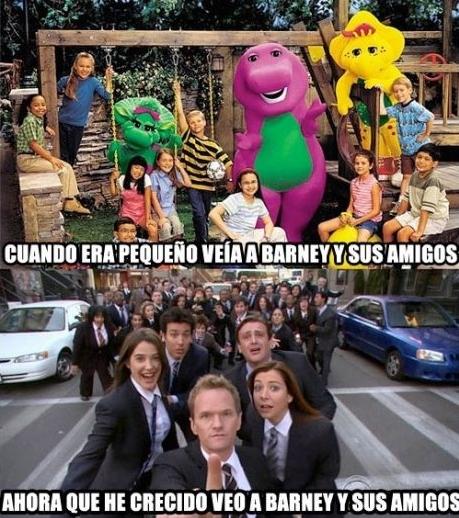 Meme_otros - Barney y sus amigos según pasan los años